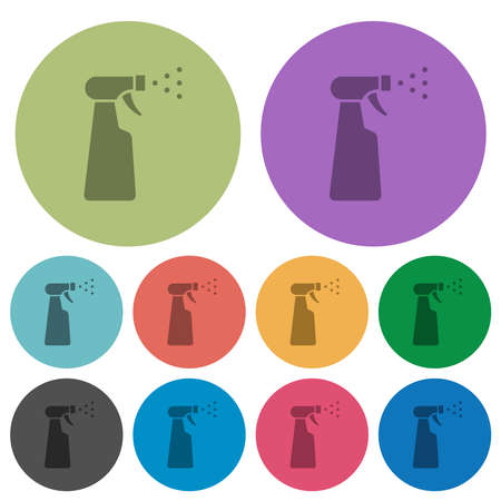 Spray bottle darker flat icons on color round background
