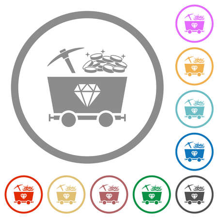 Diamond mining with treasure flat color icons in round outlines on white background