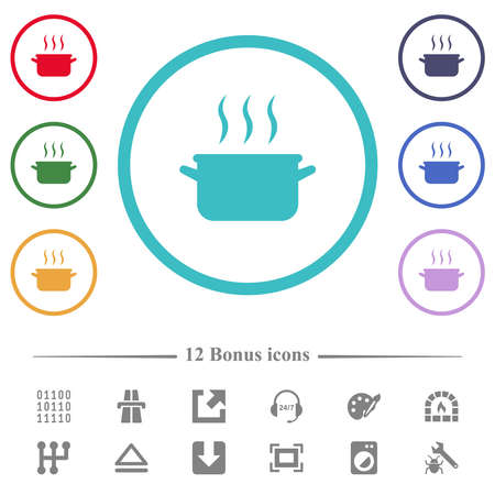 Steaming pot flat color icons in circle shape outlines. 12 bonus icons included.
