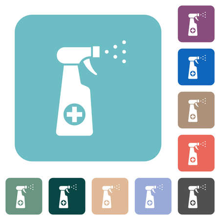 Disinfection spray white flat icons on color rounded square backgrounds