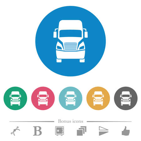 Truck front view flat white icons on round color backgrounds. 6 bonus icons included.