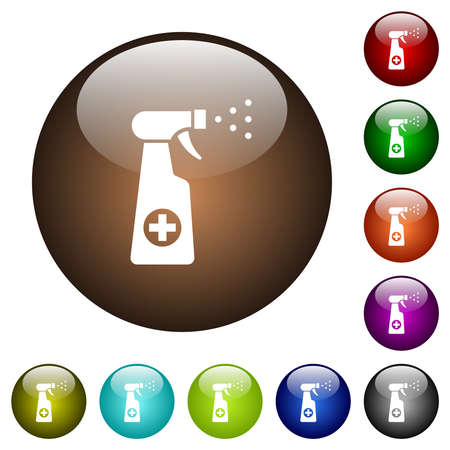 Disinfection spray white icons on round glass buttons in multiple colors
