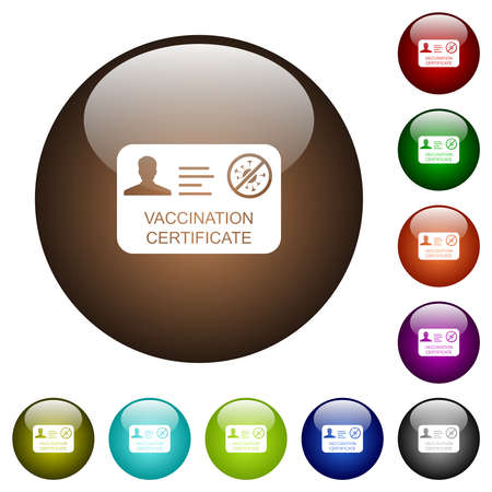 Vaccination certificate white icons on round glass buttons in multiple colors