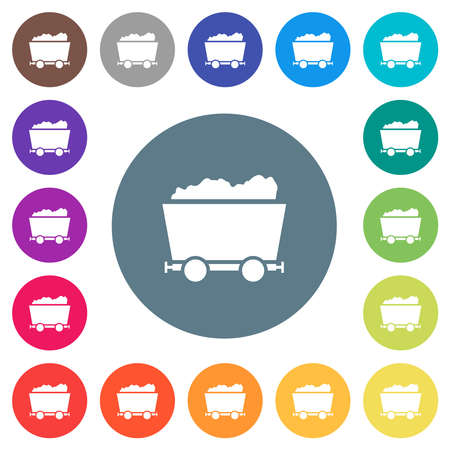 Packed mine cart flat white icons on round color backgrounds. 17 background color variations are included.