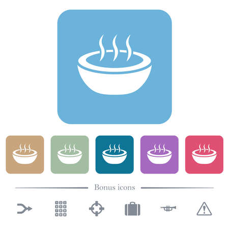 Steaming bowl white flat icons on color rounded square backgrounds. 6 bonus icons included