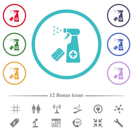 Disinfection spray and sponge flat color icons in circle shape outlines. 12 bonus icons included.