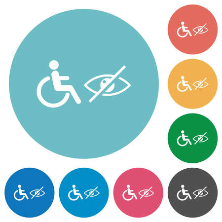 Wheelchair and visually impaired symbols flat white icons on round color backgrounds Vector Illustratie