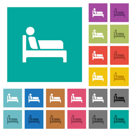 Inpatient multi colored flat icons on plain square backgrounds. Included white and darker icon variations for hover or active effects.