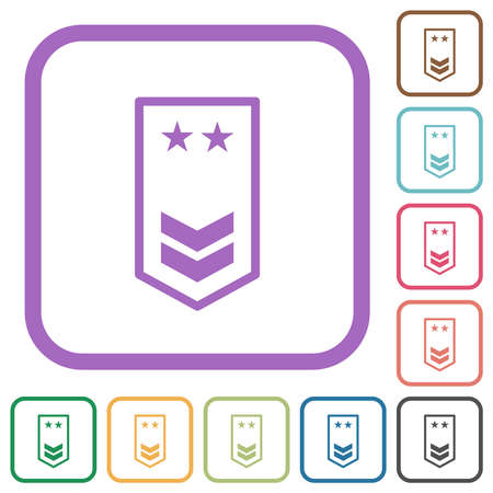 military insignia with two chevrons and two stars simple icons in color rounded square frames on white background
