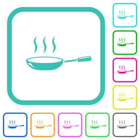 Glossy steaming frying pan vivid colored flat icons in curved borders on white background