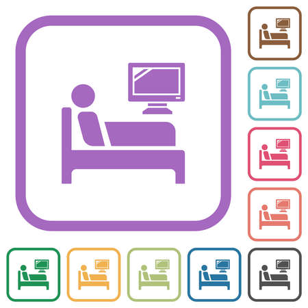 Hospital ward simple icons in color rounded square frames on white background