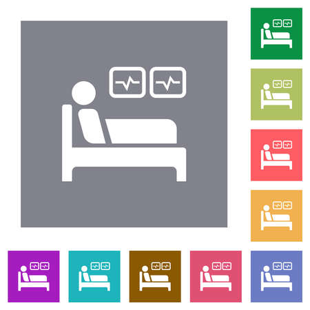 Intensive care flat icons on simple color square backgrounds