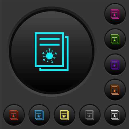 Covid documentation dark push buttons with vivid color icons on dark gray background Ilustración de vector