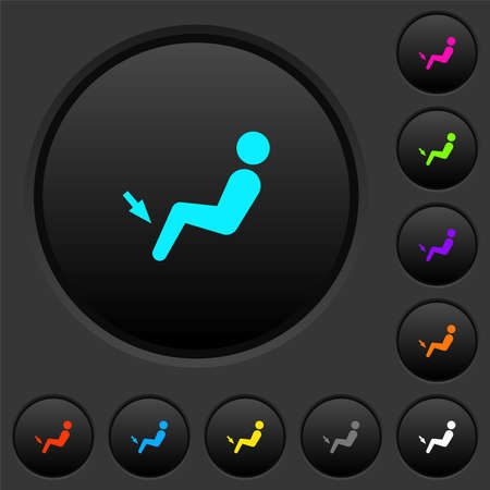 Car air flow direction foot dark push buttons with vivid color icons on dark gray background