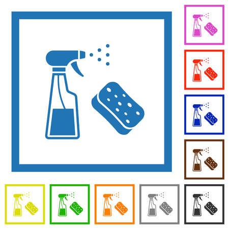 Spray bottle and sponge flat color icons in square frames on white background