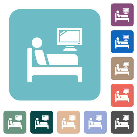 Hospital ward white flat icons on color rounded square backgrounds