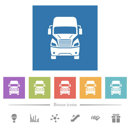 Truck front view flat white icons in square backgrounds. 6 bonus icons included.