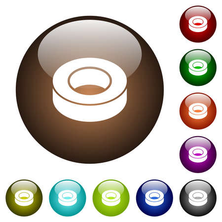 Insulating tape white icons on round glass buttons in multiple colors