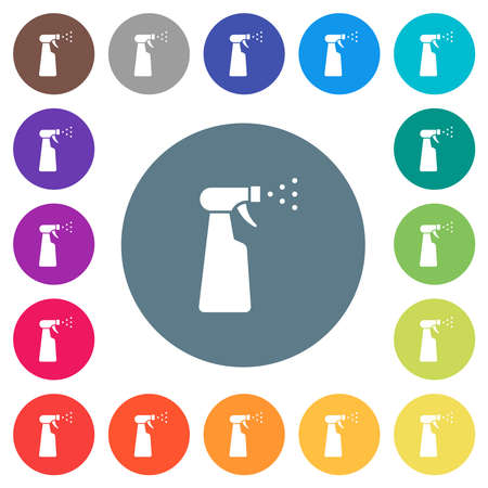 Spray bottle flat white icons on round color backgrounds. 17 background color variations are included.