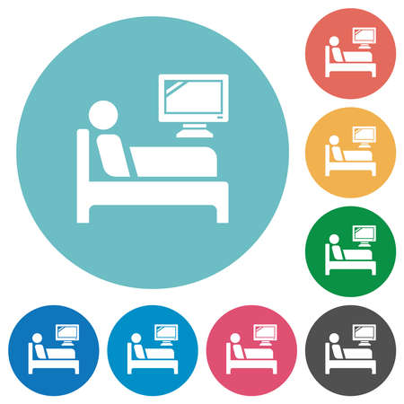 Hospital ward flat white icons on round color backgrounds