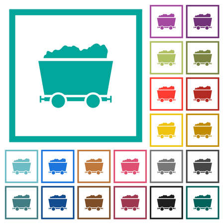 Packed mine cart flat color icons with quadrant frames on white background