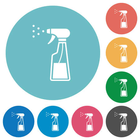 Spray bottle flat white icons on round color backgrounds