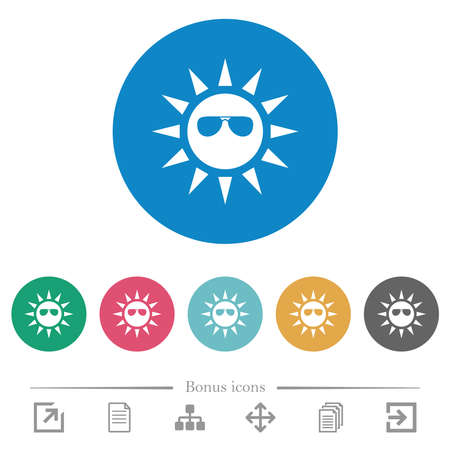 Sun with sunglasses flat white icons on round color backgrounds. 6 bonus icons included. Ilustración de vector