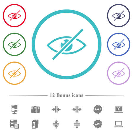Visually impaired flat color icons in circle shape outlines. 12 bonus icons included.