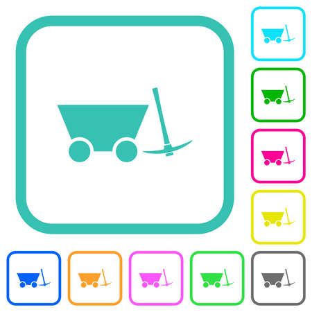 Mine cart and pickaxe vivid colored flat icons in curved borders on white background