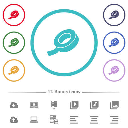 Insulating tape flat color icons in circle shape outlines. 12 bonus icons included. Vector Illustratie