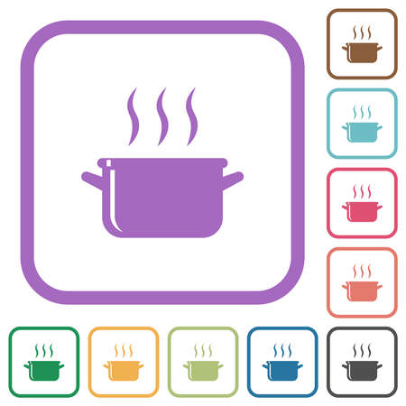 Steaming glossy pot simple icons in color rounded square frames on white background