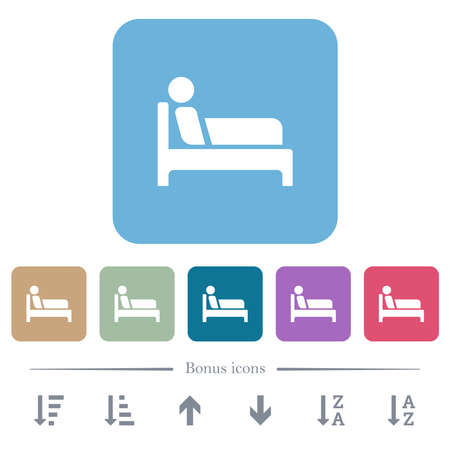 Inpatient white flat icons on color rounded square backgrounds. 6 bonus icons included