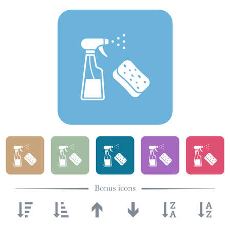 Spray bottle and sponge white flat icons on color rounded square backgrounds. 6 bonus icons included