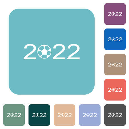 Soccer tournament 2022 white flat icons on color rounded square backgrounds