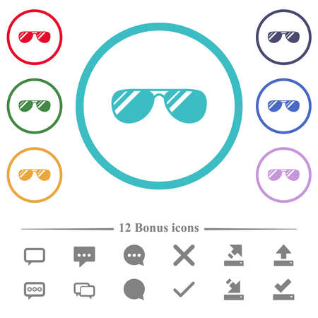 Aviator sunglasses with glosses flat color icons in circle shape outlines. 12 bonus icons included.