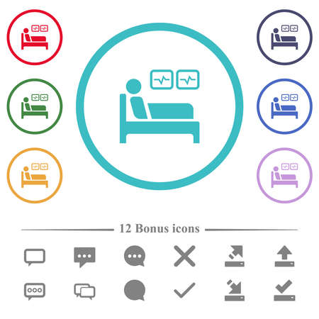 Intensive care flat color icons in circle shape outlines. 12 bonus icons included.
