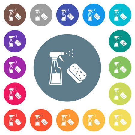 Spray bottle and sponge flat white icons on round color backgrounds. 17 background color variations are included.