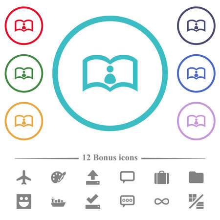User guide flat color icons in circle shape outlines. 12 bonus icons included.