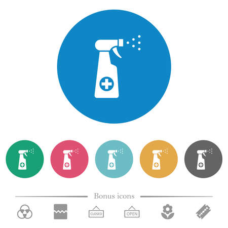 Disinfection spray flat white icons on round color backgrounds. 6 bonus icons included.