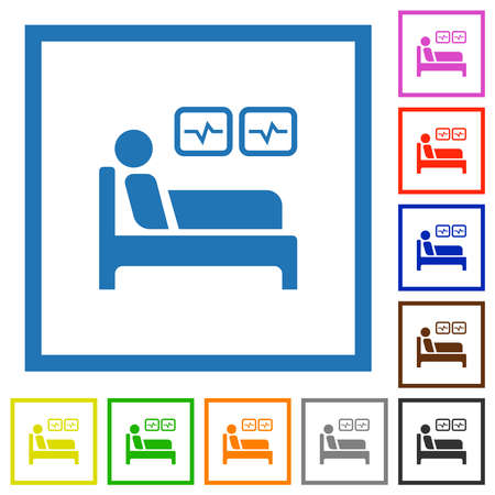 Intensive care flat color icons in square frames on white background