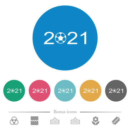 Soccer tournament 2021 flat white icons on round color backgrounds. 6 bonus icons included. Vektoros illusztráció