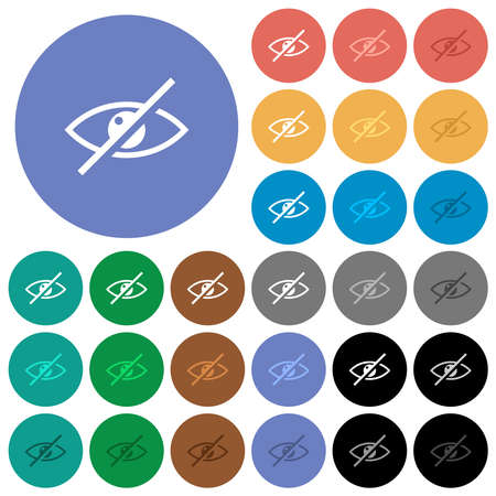 Visually impaired multi colored flat icons on round backgrounds. Includes white, light and dark icon variations for hover and active status effects, and bonus shades.