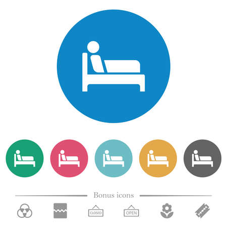 Inpatient flat white icons on round color backgrounds. 6 bonus icons included.