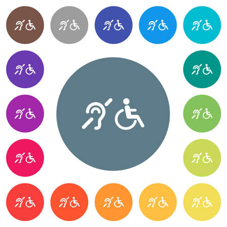 hearing impaired and wheelchair symbols flat white icons on round color backgrounds. 17 background color variations are included.