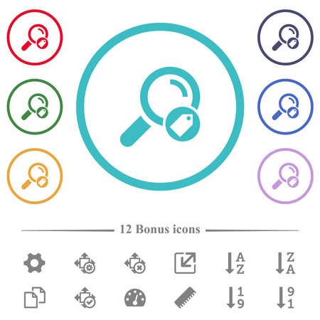 Search tags flat color icons in circle shape outlines. 12 bonus icons included. Vetores