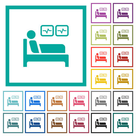 Intensive care flat color icons with quadrant frames on white background 向量圖像