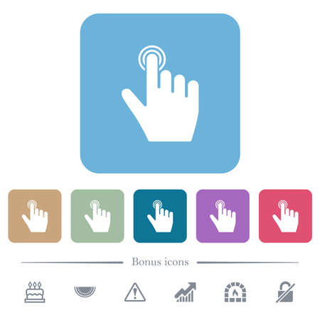 right handed clicking gesture white flat icons on color rounded square backgrounds. 6 bonus icons included