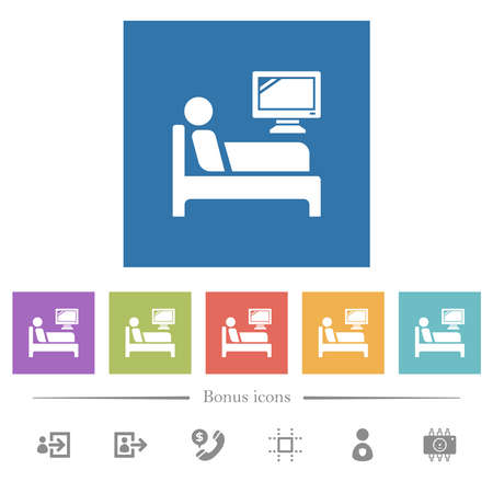 Hospital ward flat white icons in square backgrounds. 6 bonus icons included.