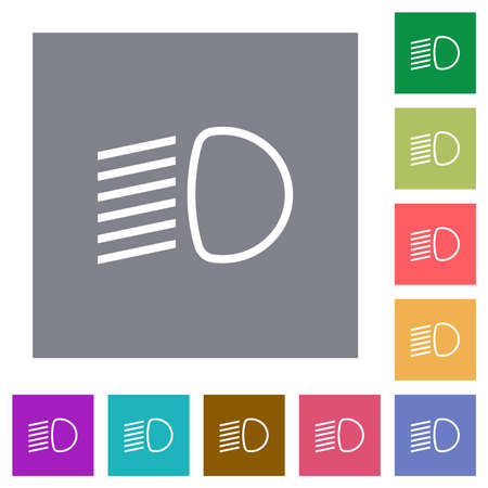 Dipped beam lights flat icons on simple color square backgrounds