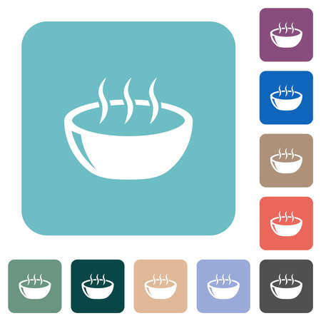 Glossy steaming bowl white flat icons on color rounded square backgrounds